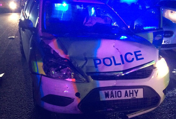 Thieves break into police station and take cop car on 200 mile chase - D&C police car stolen during a burglary to a police Stn. Veh Pursued by Wilts Triforce RPU. Veh stung at Jnc 7 M4. 2 arrested - taken from @Tri_Force