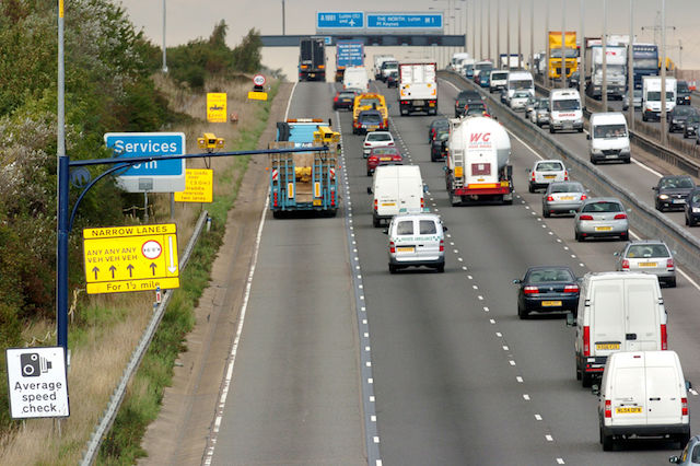 File photo dated 09/10/06 of Average Speed Cameras monitoring heavy congestion on the South bound carriageway of the M1 motorway, as faster speed limits beside motorway roadworks are being trialled to beat delays while routes are improved and repaired.