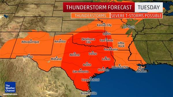 Weather Map For Louisiana.Texas Oklahoma Louisiana Face Possible Tornadoes Large Hail Aol