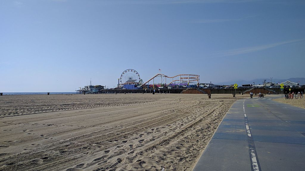 Santa Monica Pier seen from the walking path of the Santa Monica Strand