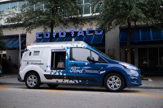 Ford is working with Postmates, an on-demand delivery platform, to operate a self-driving delivery service.