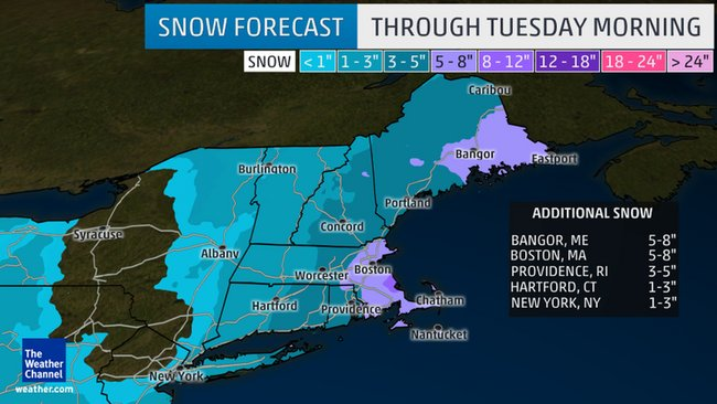 Winter storm Mars bringing snow and strong winds to New