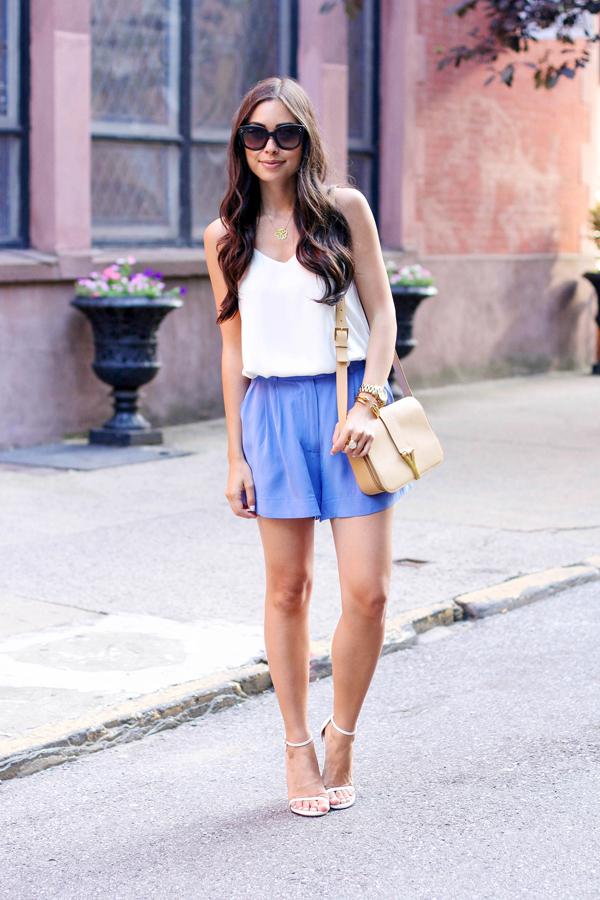 blue silk summer shorts zimmerman