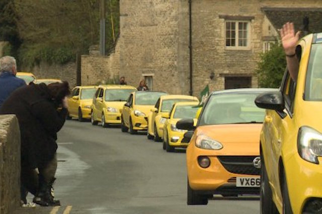 Yellow Cars Rally In Support Of Vandalised Vauxhall Gloucestershire
