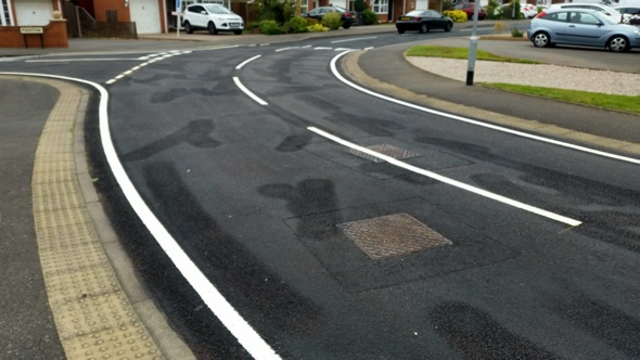 Penis-shaped road marks left by bungling workers