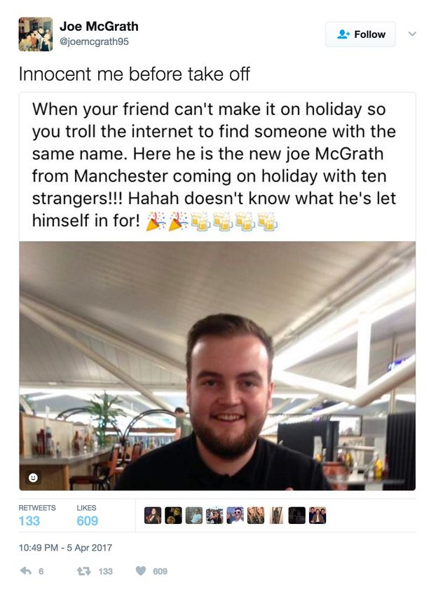 Group invite stranger with same name as their friend on holiday