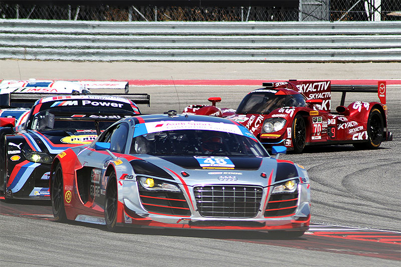 The #48 Paul Miller Racing Audi R8 LMS races at the 2015 Lone Star Le Mans.