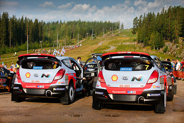 Two Hyundai i20 WRC cars at the Neste Oil Rally Finland.