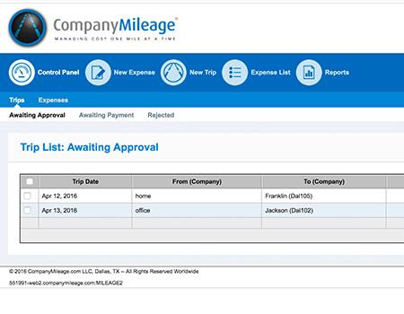 CompanyMileage screen shot