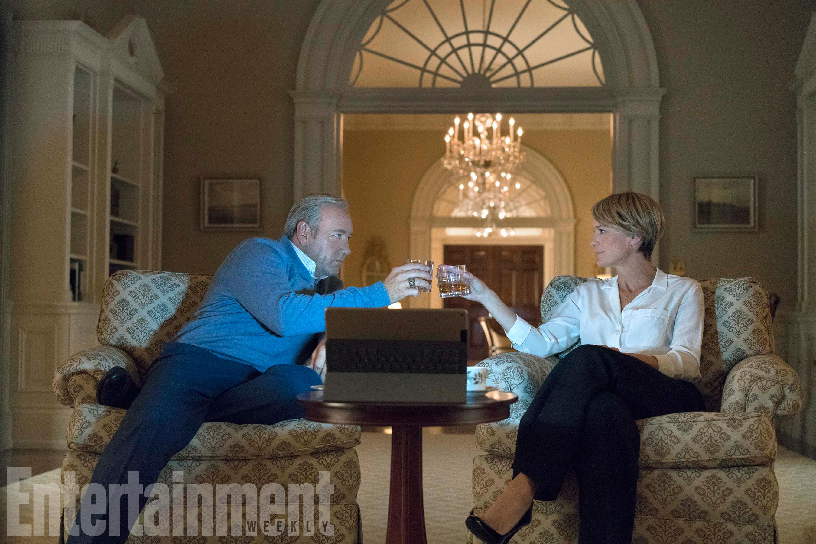 "House Of Cards Season 5Pictured from left:  Kevin Spacey as  Francis J. ""Frank"" Underwood, Robin Wright as Claire Underwood"