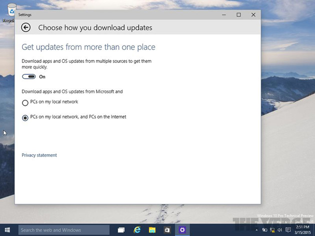 Windows 10 peer-to-peer updates