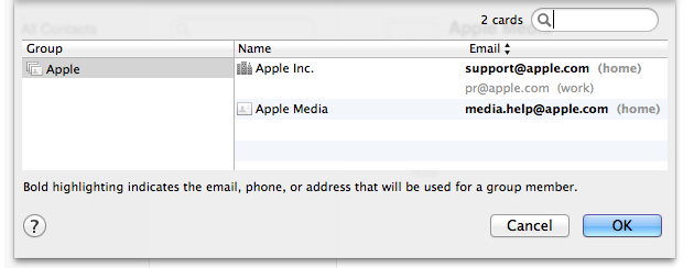 OS X Contacts