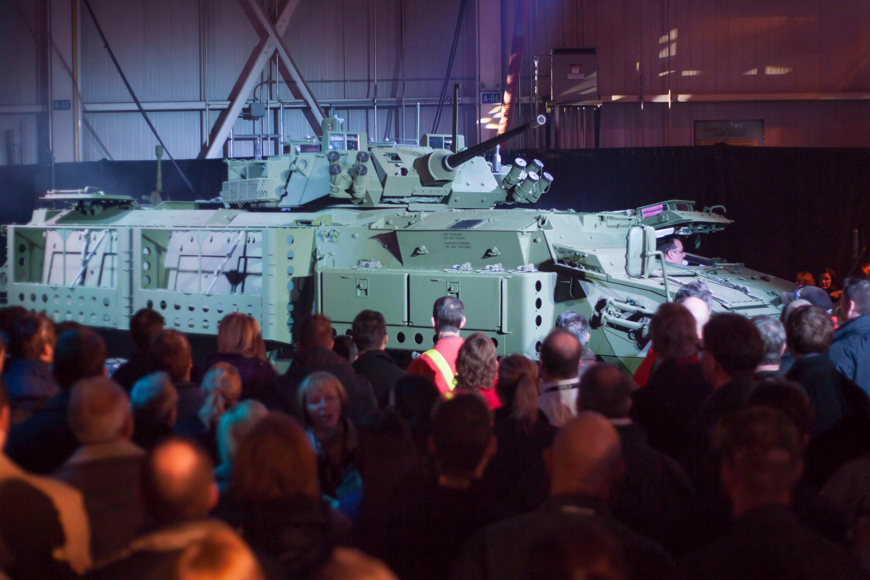 The new upgraded Light Armoured Vehicle is unveiled at a news conference at a General Dynamics facility...