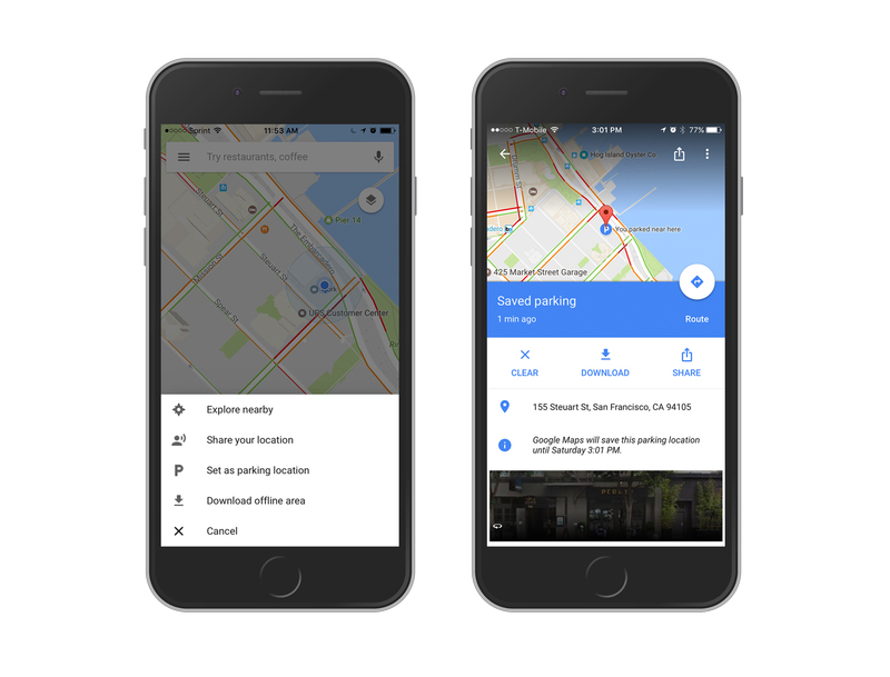 Google Maps can remember where you parked on Android and iOS on google maps android, iphone 5 mobile phone, google maps for car, nexus 7 mobile phone, google nexus mobile phone, google boost mobile phone, galaxy s4 mobile phone, google maps iphone,