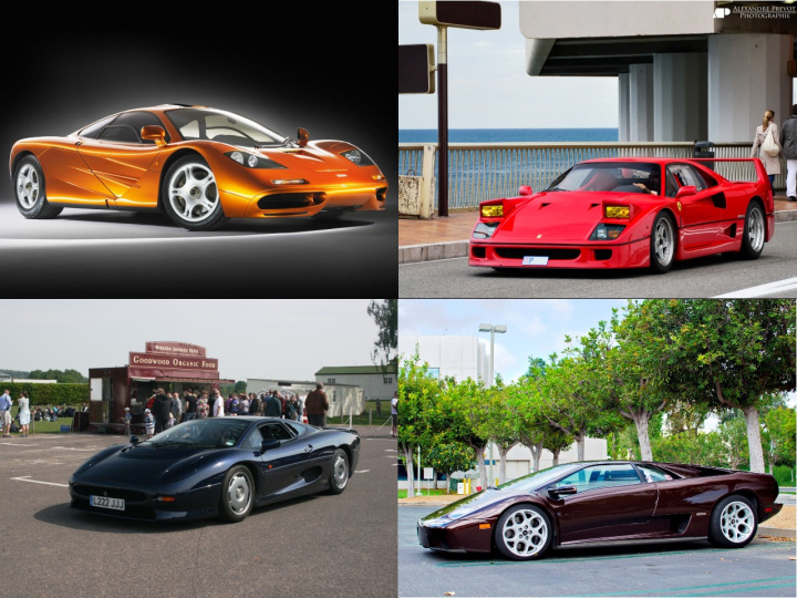 McLaren F1, Ferrari's F40, Lamborghini's Diablo, and Jaguar's XJ220