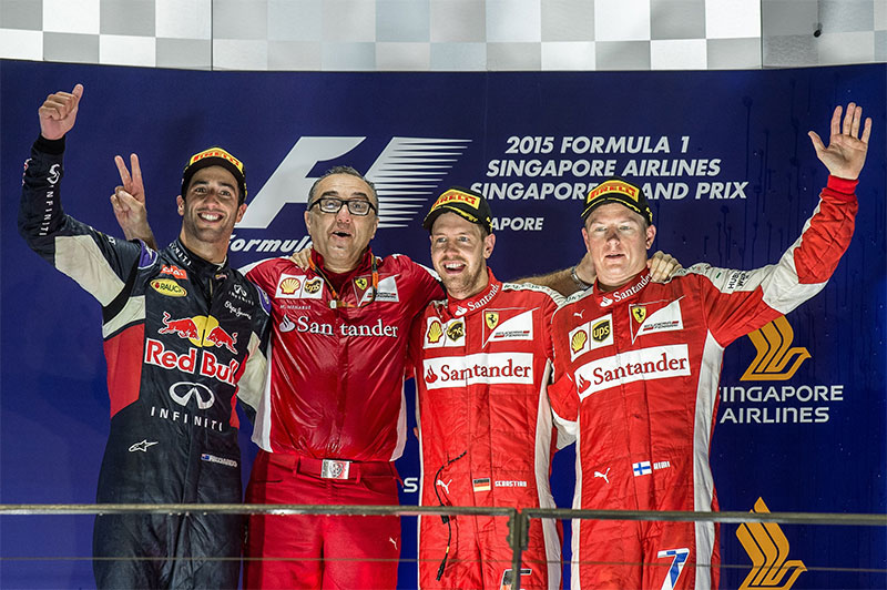 The podium at the 2015 Singapore Grand Prix.