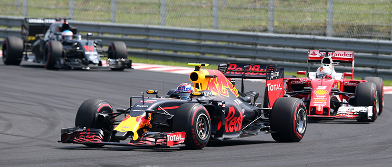 Red Bull driver Max Verstappen of The Netherlands steers his car during the Hungarian Formula One Grand Prix, at the Hungaroring racetrack, in Budapest, Hungary, Sunday, July 24, 2016.