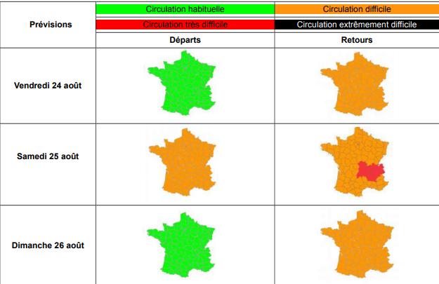 Info Trafic: Bison Futé voit orange et rouge pour ce week-end de retour de