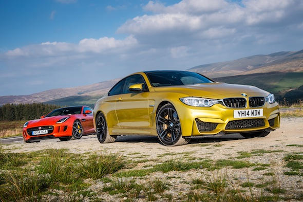 BMW M4 and Jaguar F-Type R Coupe