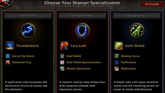 Shaman specializations