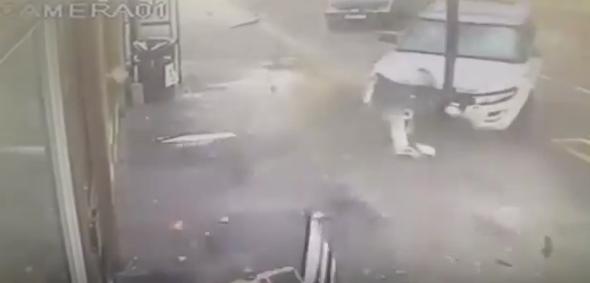 Man cheats death as Range Rover crashes into London bus stop