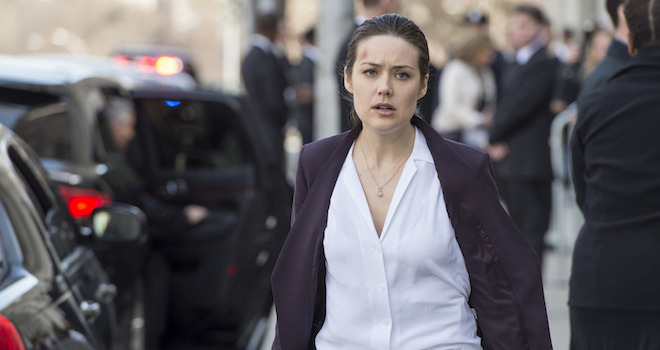 "THE BLACKLIST -- ""Karakurt"" Episode 221 -- Pictured: Megan Boone as Liz Keen -- (Photo by: David Giesbrecht/NBC)"