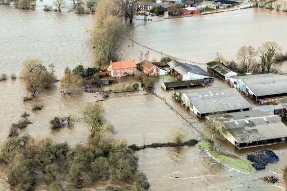 Flooded farmland in Somerset