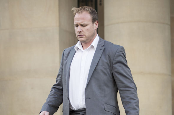 Ben Kitto leaves York Crown Court where he was spared jail after using a laser jamming device to avoid being caught driving too fast.