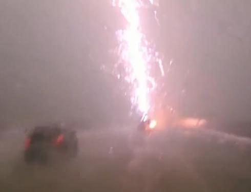 Lightning Strikes Truck During Mive Storm