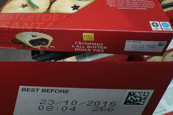 Marks & Spencer mince pies with an October sell-by date