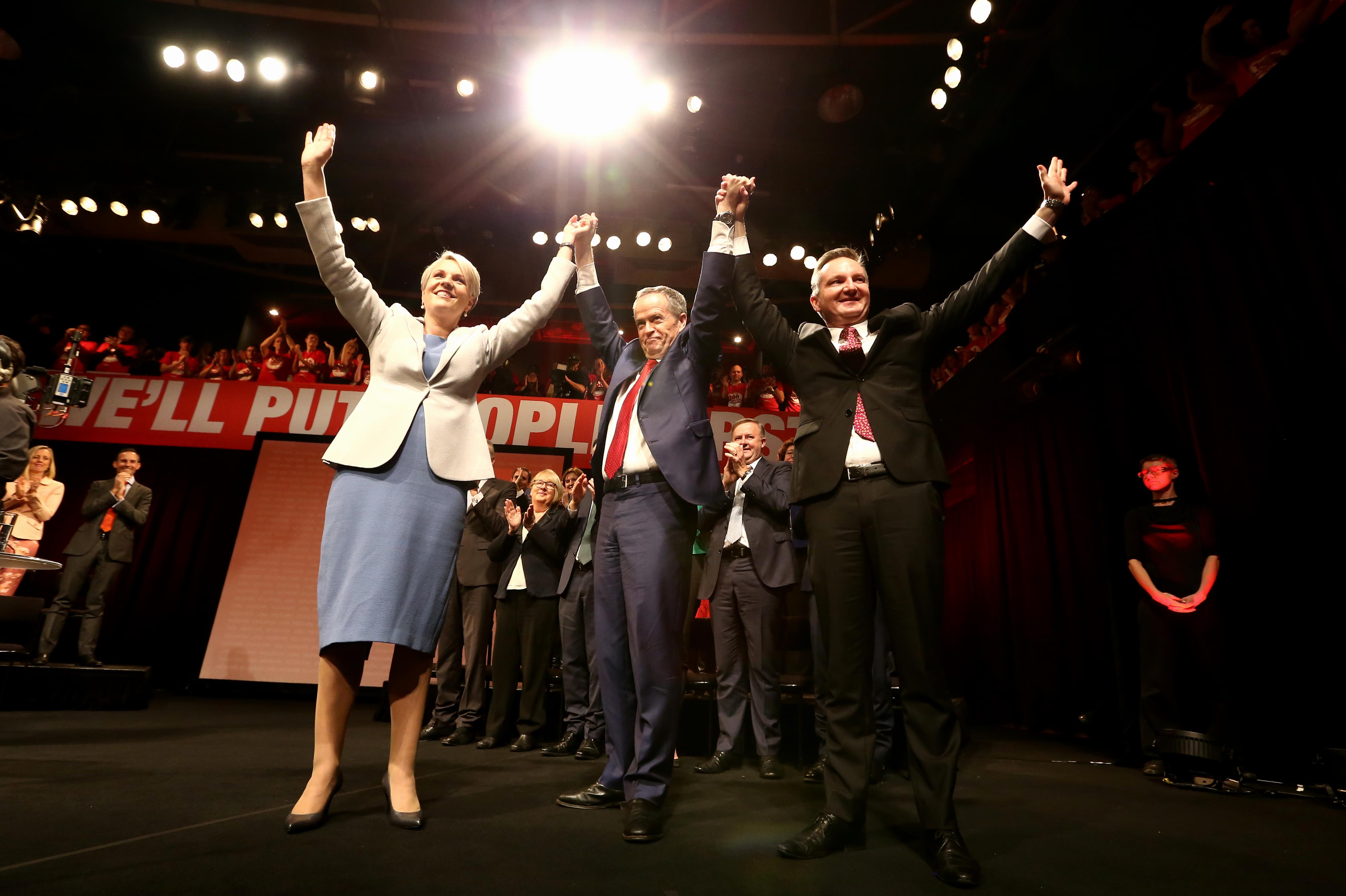 Deputy Opposition Leader Tanya Plibersek, Opposition Leader Bill Shorten and Shadow Treasurer Chris Bowen...