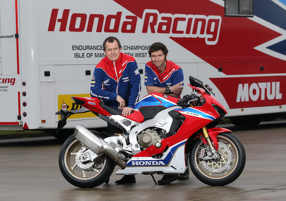 PACEMAKER, BELFAST, 16/1/2017: Guy Martin and teammate John McGuinness with the new  CBR1000RR SP2 Honda Fireblade they will race in 2017. PICTURE BY STEPHEN DAVISON