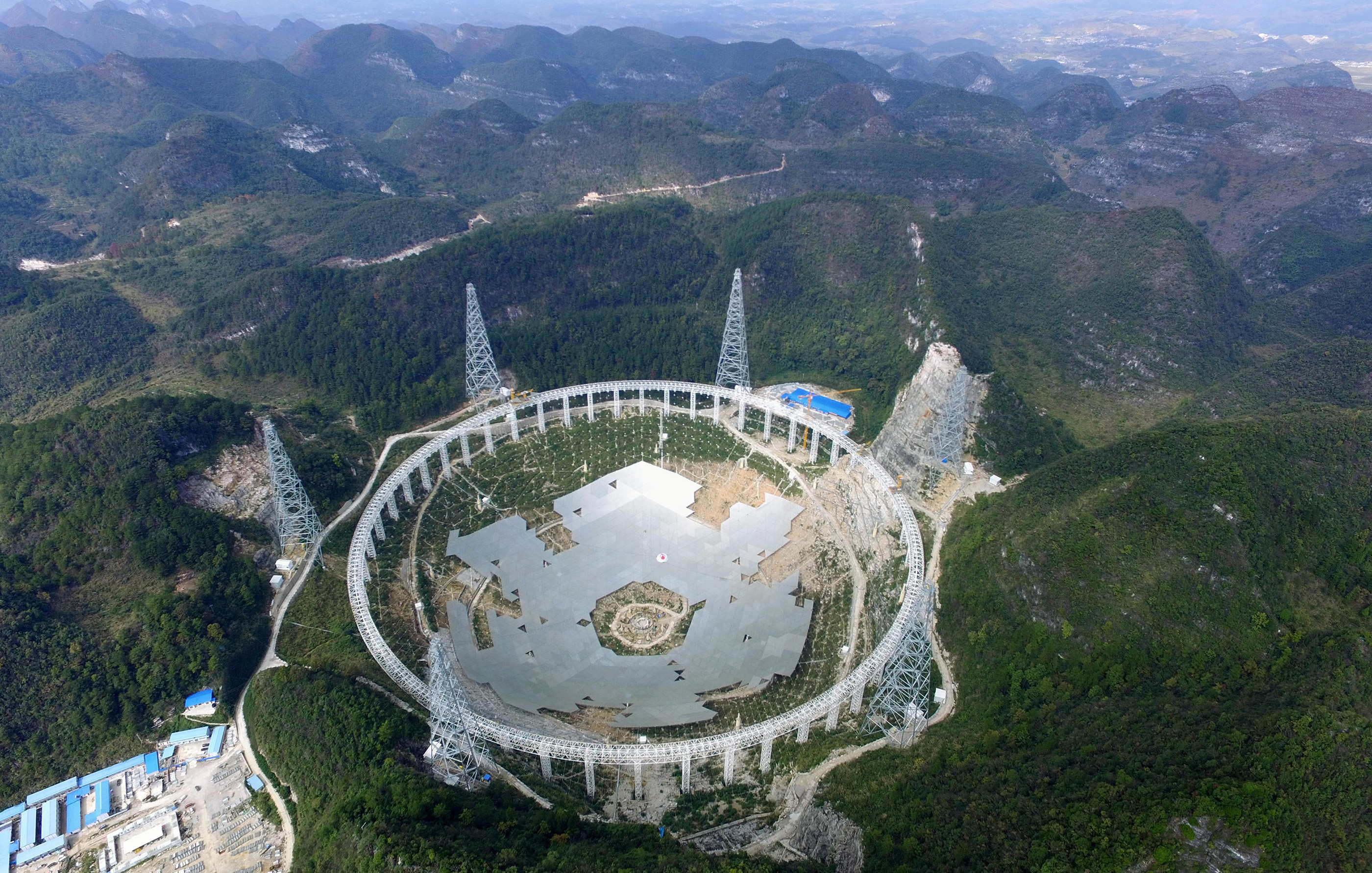 The Five hundred meter Aperture Spherical Telescope, currently under construction in Guizhou province, China.