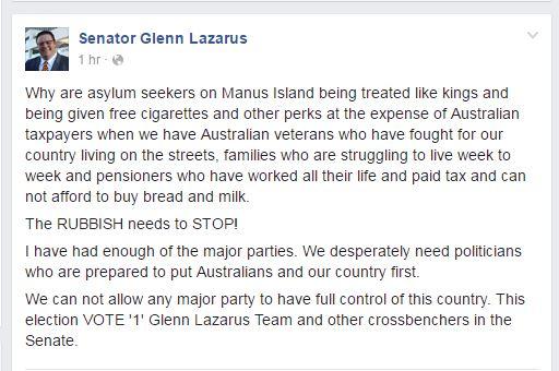 Glenn Lazarus Says Manus Asylum Seekers 'Treated Like