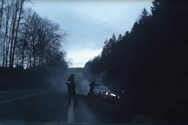 Dramatic police chase ends after stolen car crashes into
