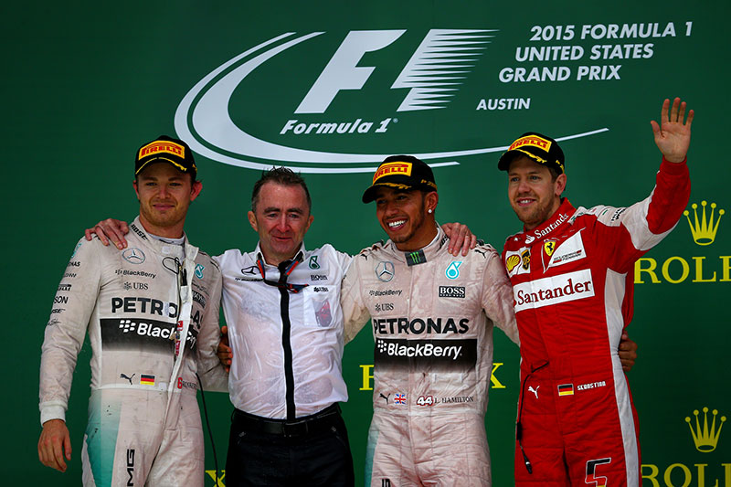 The podium at the 2015 US Grand Prix.