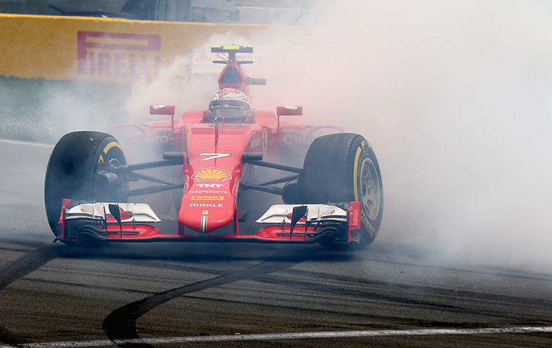Kimi Raikkonen spins in his Ferrari at the 2015 Canadian F1 grand prix.
