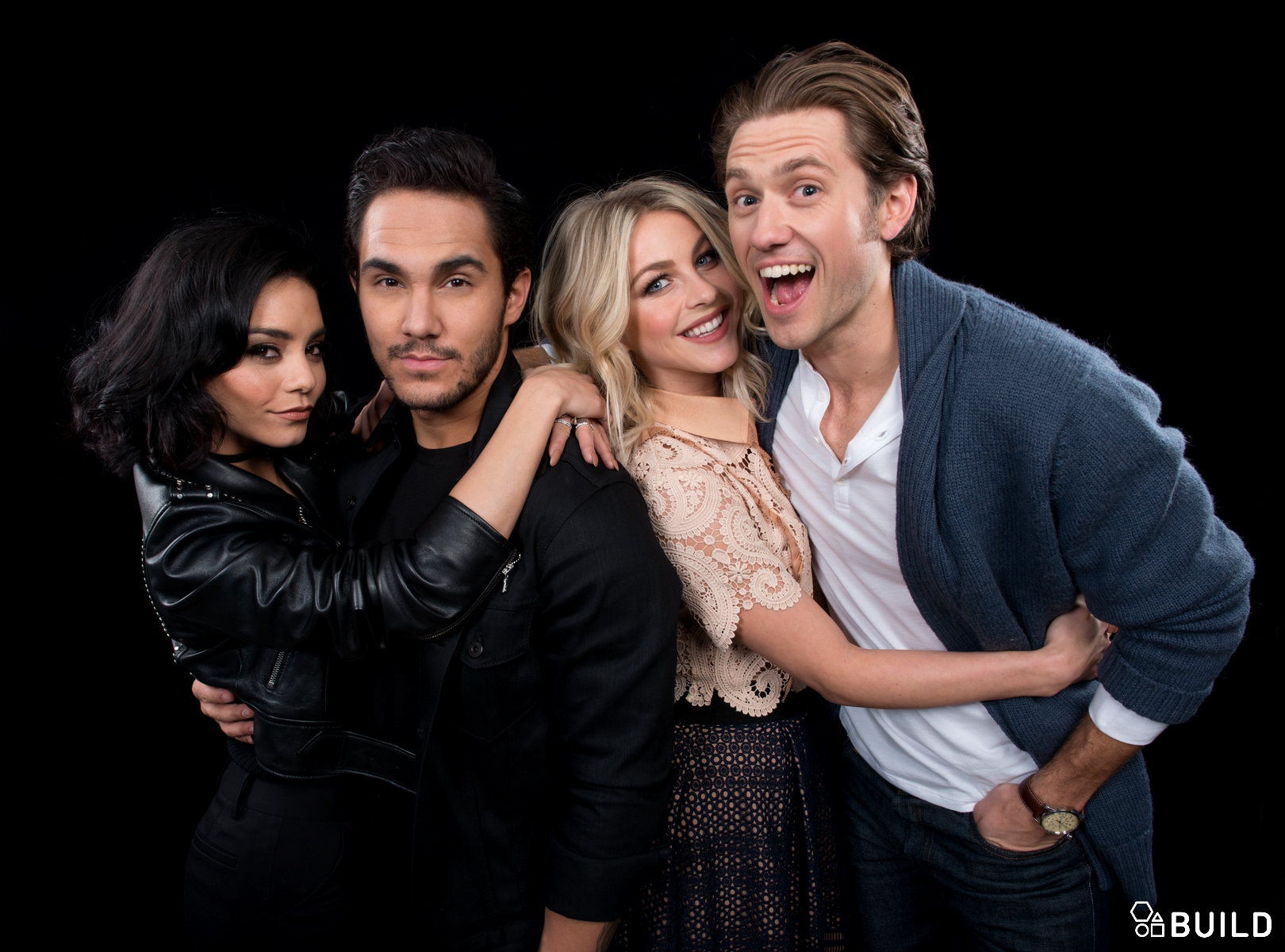 Julianne Hough, Vanessa Hudgens, Aaron Tveit and Carlos PenaVega visit AOL Hq for Build on January 18, 2016 in New York. Photos by Noam Galai