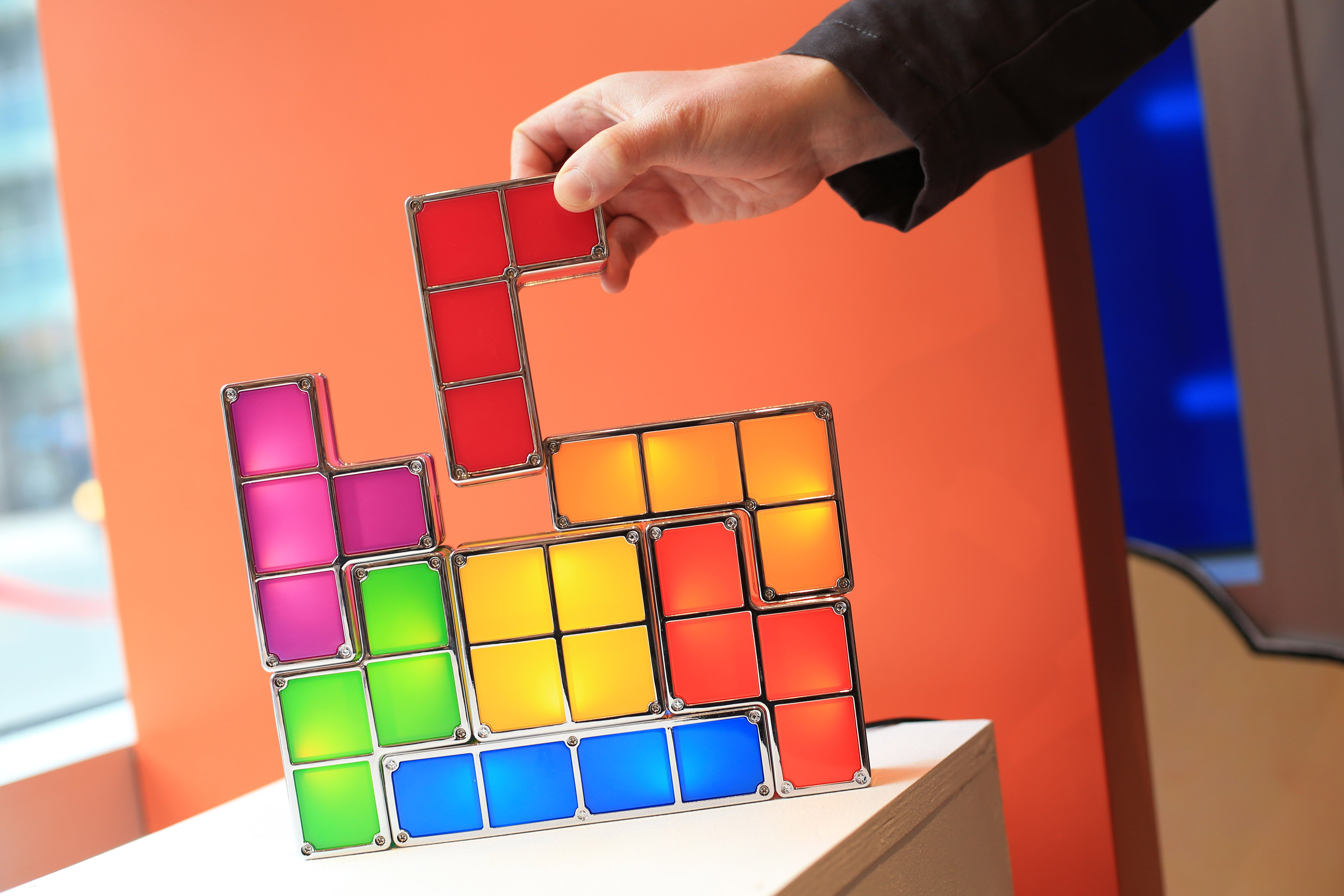 TORONTO, ONTARIO - DECEMBER 8, 2015 -Tetris block light. It is the first anniversary of Page & Panel. Comic-book shop Page & Panel opened a year ago as a pop-up in Toronto Reference Library        (Rene Johnston/Toronto Star via Getty Images)