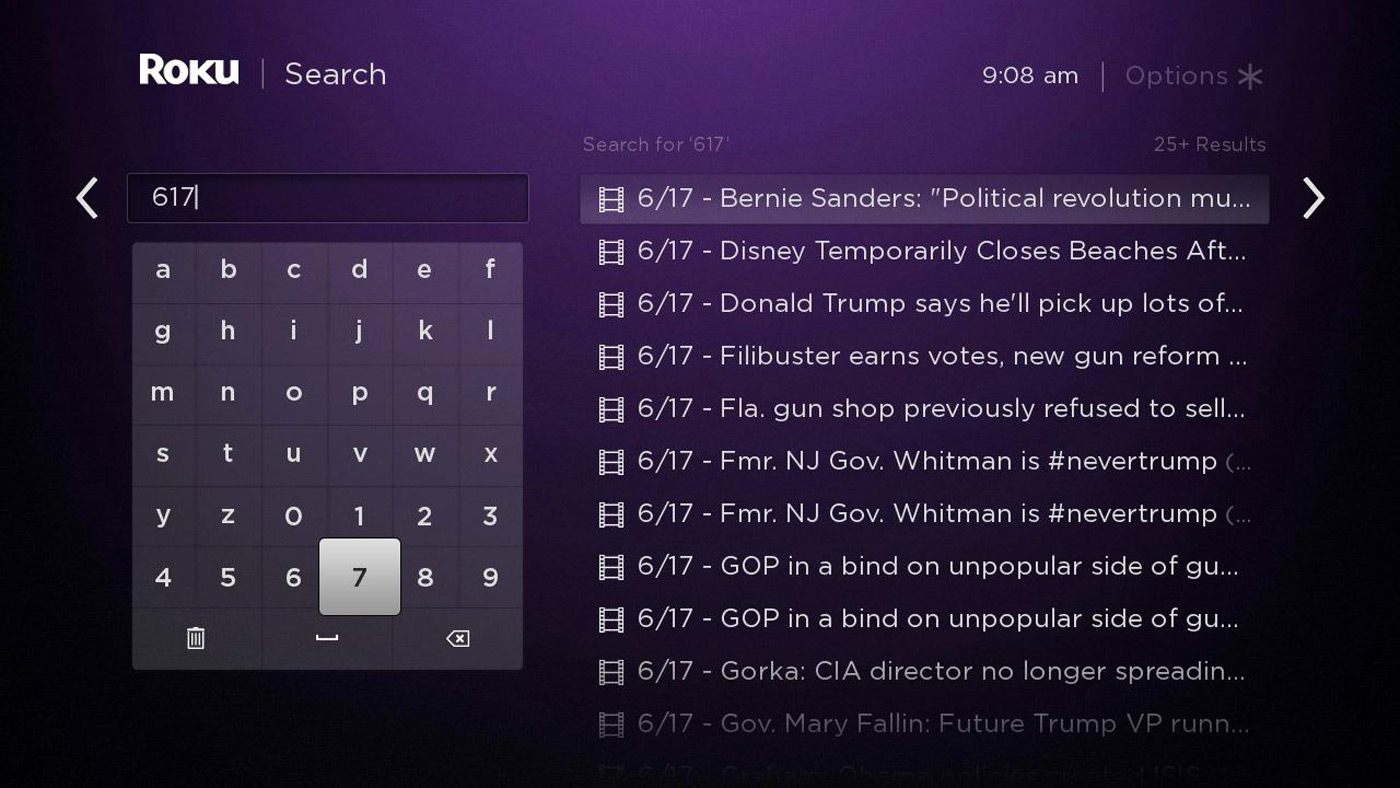 Searching news on a Roku player