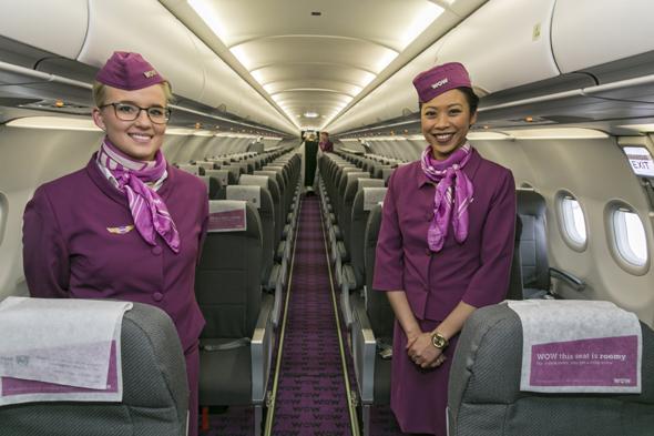 wow air, inside wow air plane