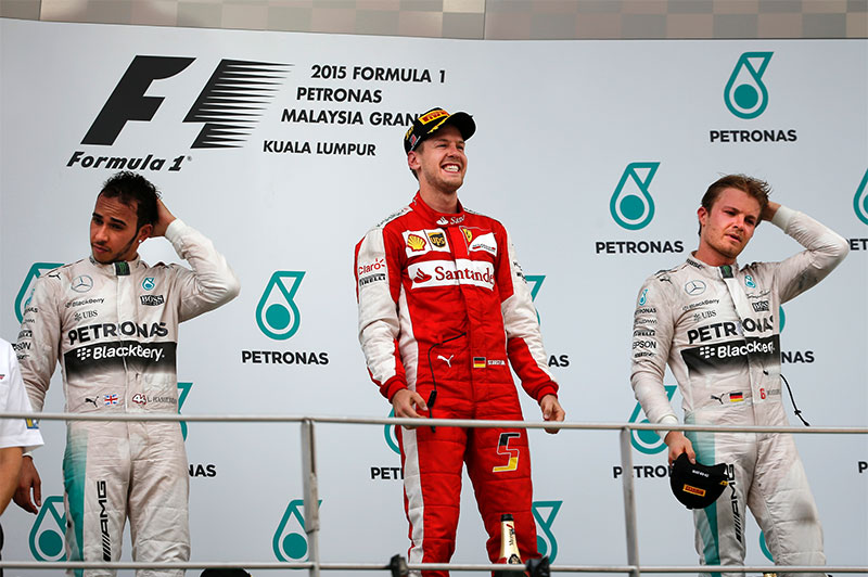 The winner's podium at the 2015 Malaysian F1 Grand Prix.