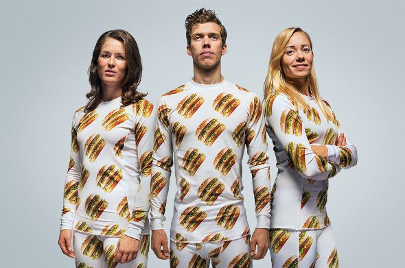 Models wearing clothes from the McDonalds range.