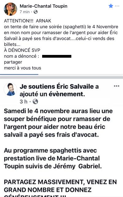 Non, Marie-Chantal Toupin ne participe pas à un souper spaghetti en soutien à Éric