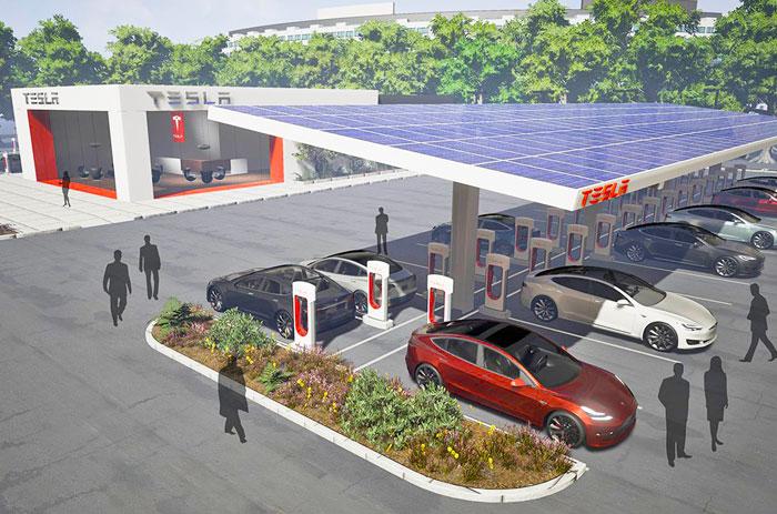 Tesla plans larger Supercharger sites, more travel refueling spots