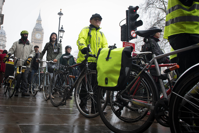Cyclists protest through central London campaigning for safer roads in the capital.