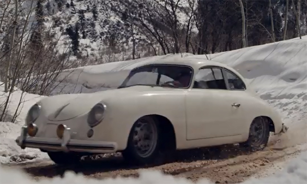 【ビデオ】見るからに楽しそう! 雪に覆われた山道をポルシェ「356」でドライブ
