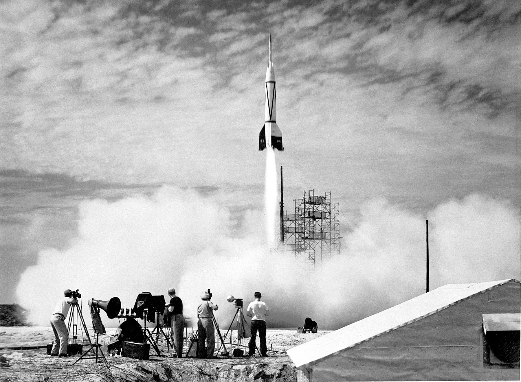 A Bumper rocket soars above Cape Canaveral Air Force Station, in what was the first ever launch from the spaceport.