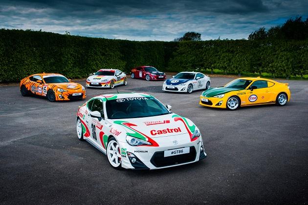 トヨタ、歴史的なレースカーのカラーリングを施した6台の「86」をグッドウッドで公開へ