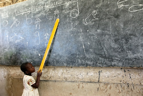 A young student takes part in lessons in